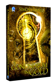Mysteries in Metal book three: A Conundrum in Gold cover art (c) Bowman Press